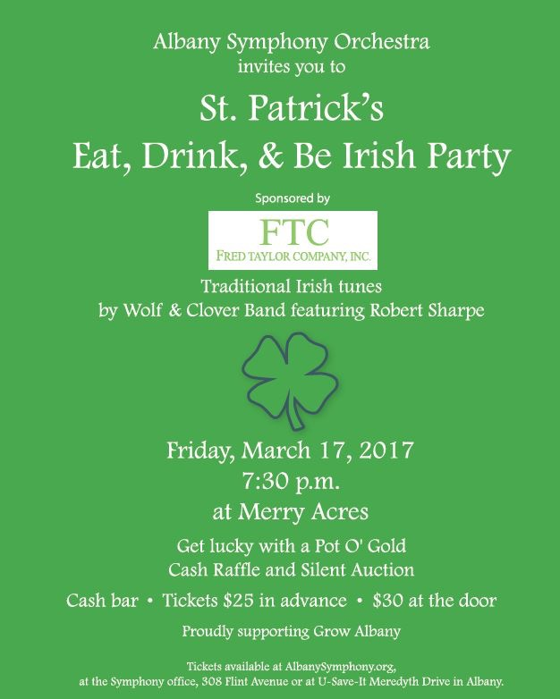 Albany Symphony Orchestra Eat, Drink, + Be Irish Party